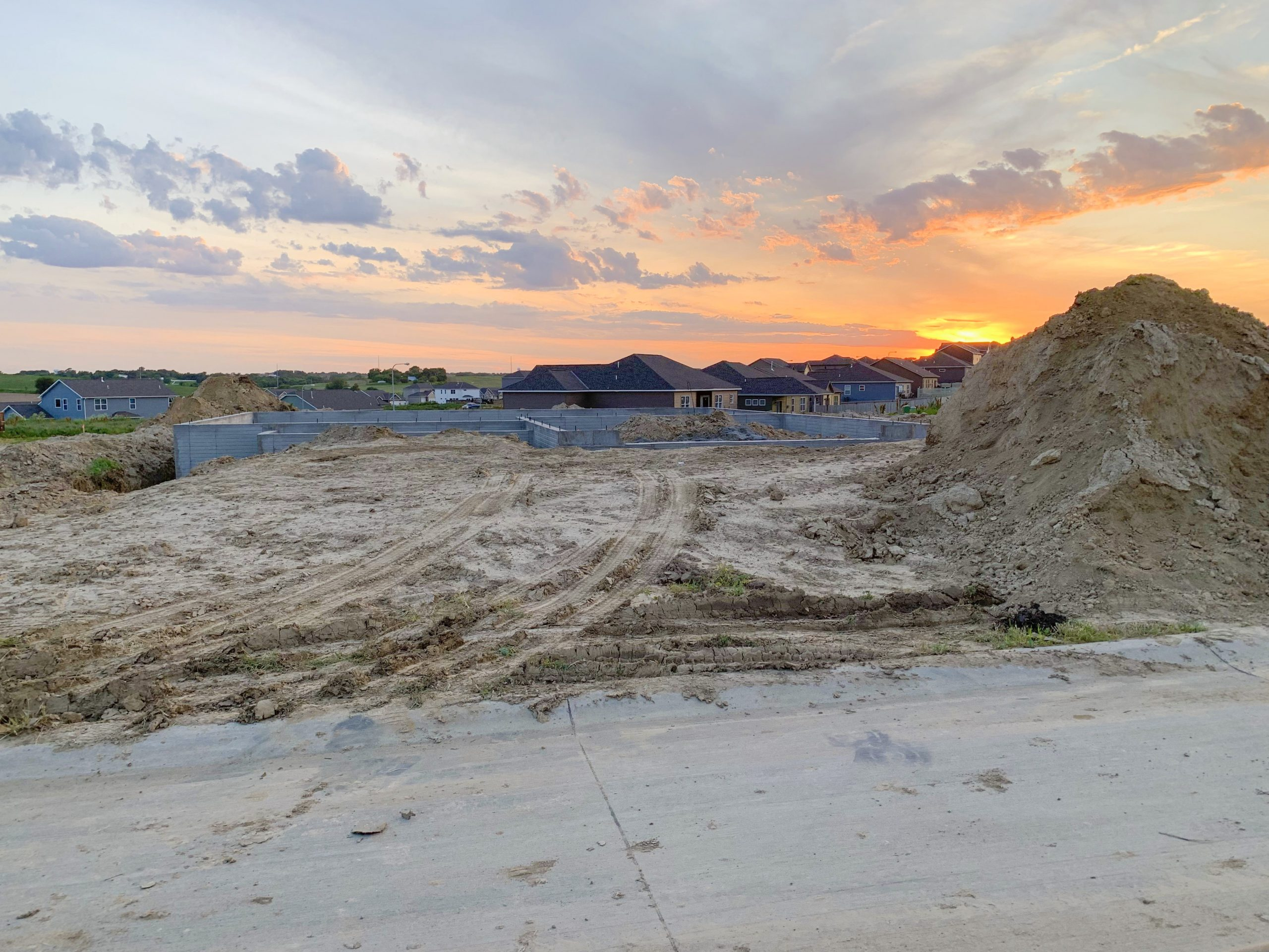sunset photo of our new home build