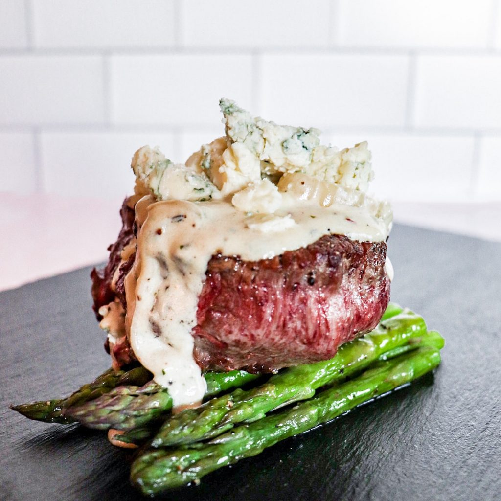 Filet Mignon with Blue Cheese Shallot Cream Sauce