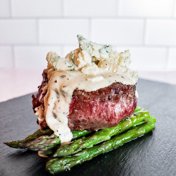 thumbnail of steak with blue cheese shallot cream sauce