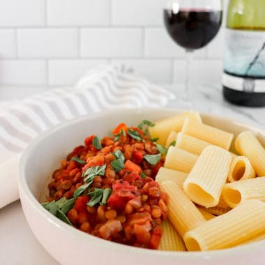 slow cooker vegan bolognese with lentils