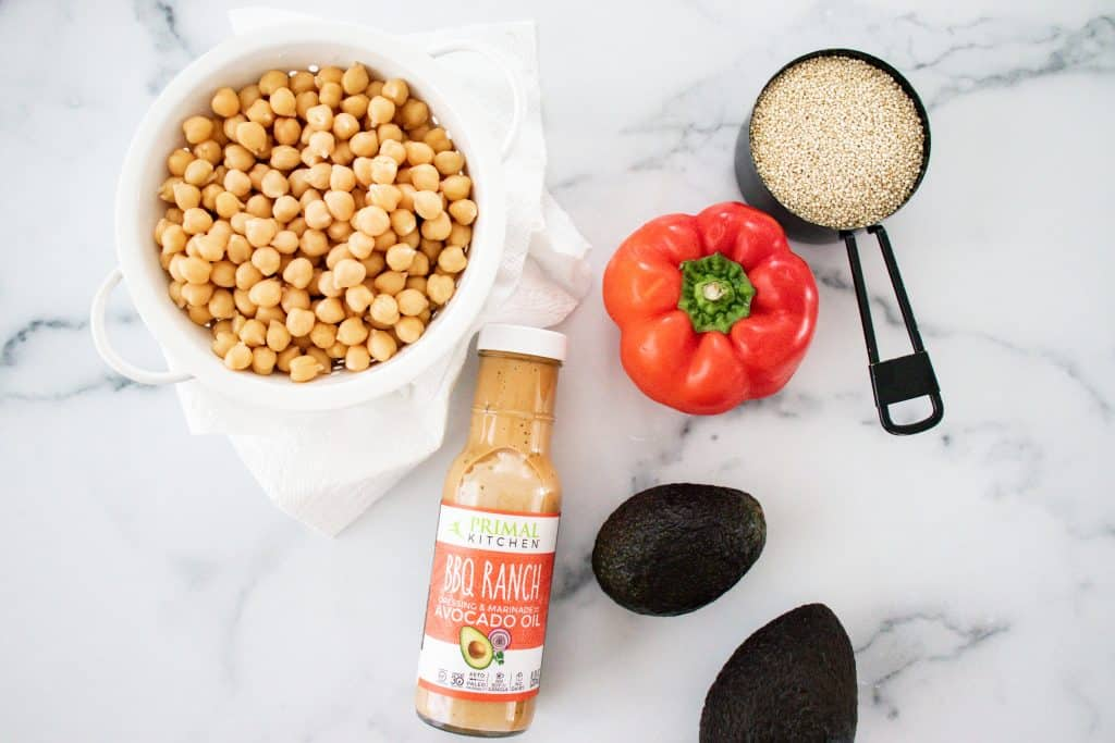 ingredients image for bbq ranch chickpea salad