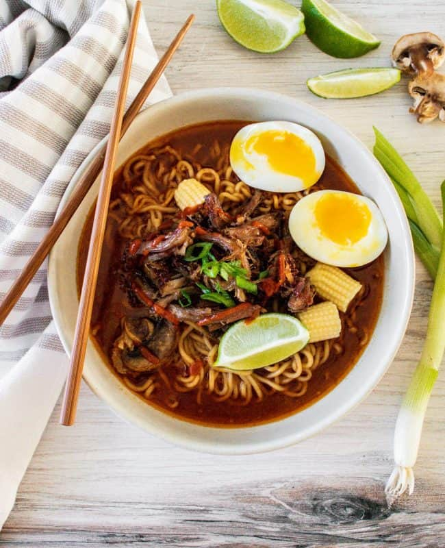 feature image for crockpot crispy pork ramen