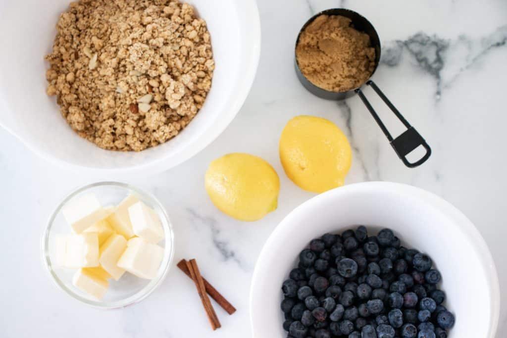 blueberry vanilla almond granola crumble ingredients list image