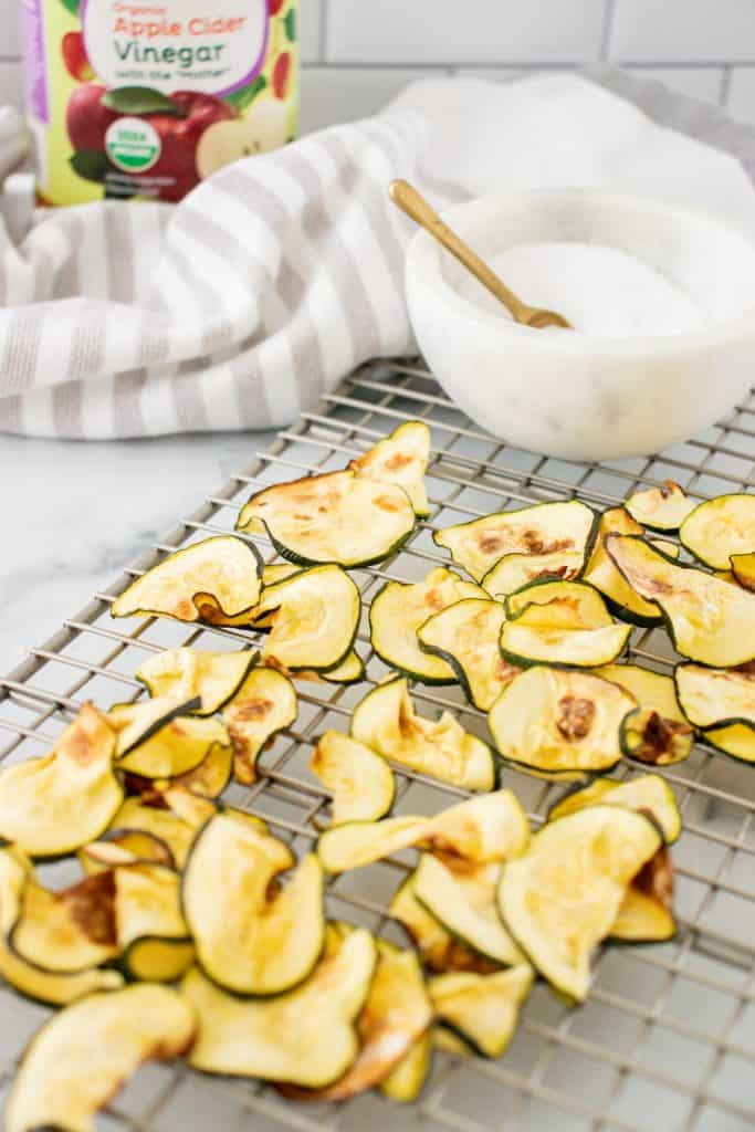 Low Carb Air Fryer Salt and Vinegar Zucchini Chips