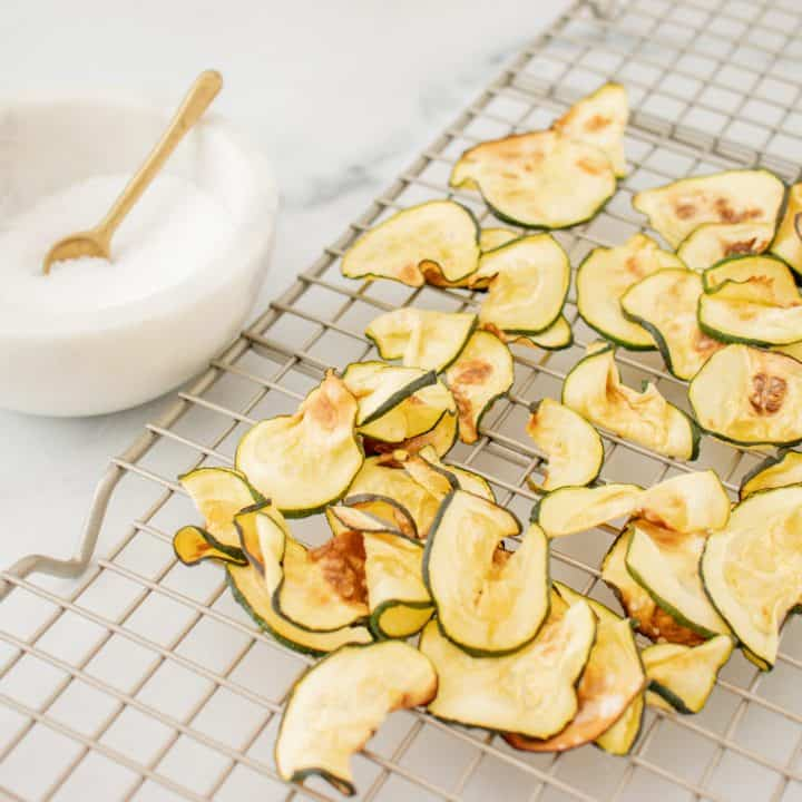 Low Carb Air Fryer recipe with Salt and Vinegar Zucchini Chips