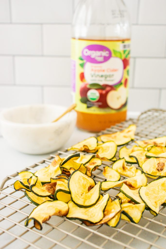 Low carb air fryer salt and vinegar zucchini chips image