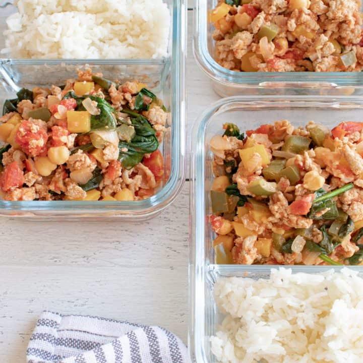 spicy turkey meal-prep bowls