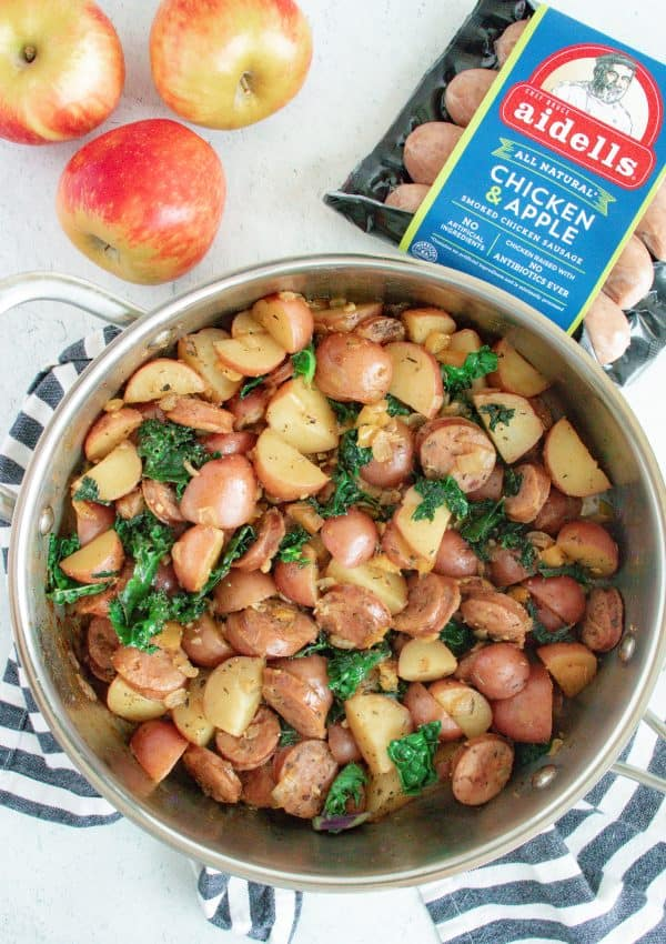 One-Pan Chicken and Apple Sausage Hash